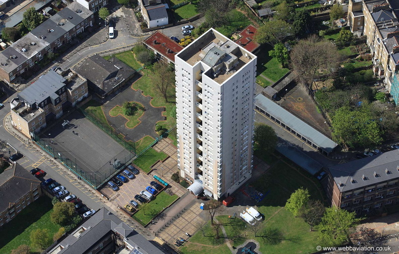 Rundell Tower Lambeth  London  from the air