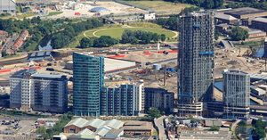 new apartments along High Street Stratford London  from the air