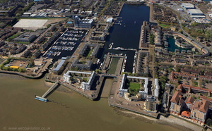 Greenland Dock Rotherhithe  London  from the air