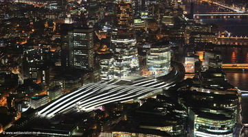 London Bridge station Southwark London by night   from the air