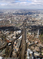 railway running through Bermondsey London  from the air