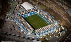 The Den   football stadium in Bermondsey, south-east London,UK home of Millwall Football Club aerial photograph