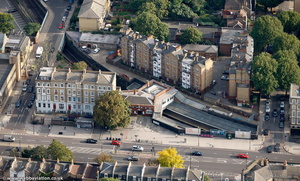 Bow Rd Station Tower Hamlets London England UK aerial photograph
