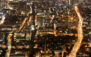 Commercial Rd Tower Hamlets London  at night. from the air