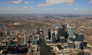 Canary wharf and the London Docklands  London England UK aerial photograph