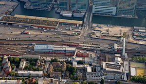Poplar Docklands Light Railway (DLR) station  from the air