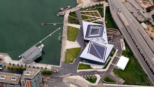 The Crystal  building,  Royal Victoria Dock from the air