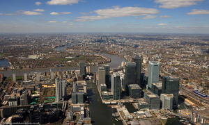 Canary Wharf , London Docklands  from the air