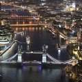 River Thames & Tower Bridge London at night  from the air