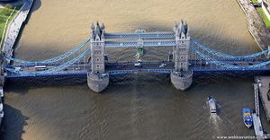 Tower Bridge Tower Hamlets London England UK aerial photograph