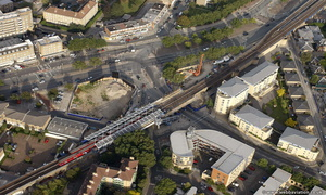 Westferry DLR Tower Hamlets London England UK aerial photograph