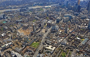 Whitechapel High St  Tower Hamlets London England UK aerial photograph