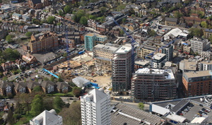 The Light Bulb,  the Copperlight Apartments and The Filaments  Wandsworth from the air