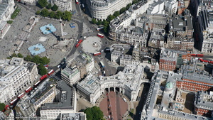 Admiralty Arch  and Trafalgar Square London  aerial photo