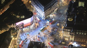 Piccadilly Circus London at night from the air