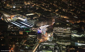 Victoria Station London at night from the air