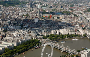 Hungerford Bridge and Golden Jubilee Bridges London   aerial photo