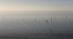 London skyline mist and fog aerial photo