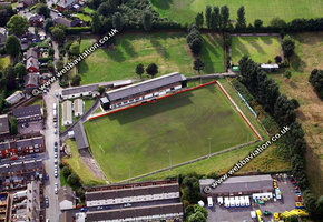 Valerie Park aka  Hope Street, football stadium in Prescot, Merseyside UK home of  Prescot Cables  aerial photograph