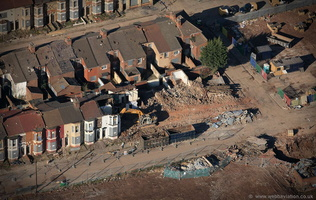 house clearances - demolition of terraces in    aerial photograph