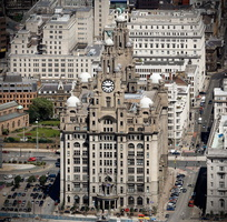 the Royal Liver Building   Liverpool  aerial photograph