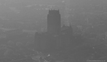 Liverpool Anglican Cathedral in the dawn mist of a foggy winters day