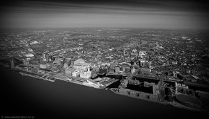black and white  Liverpool  aerial photograph