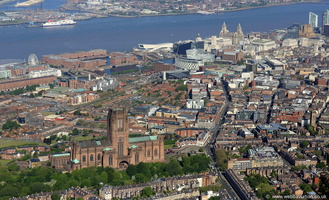 Liverpool with the Anglican Cathedral in the foreground aerial photograph