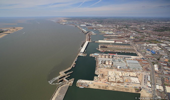 Liverpool southern docks panorama  aerial photograph