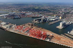 Megamax Cranes at  Royal Seaforth Dock Liverpool part of Liverpool FreeportMerseyside aerial photograph