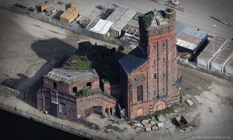 Hydraulic Engine House at Bramley Moore Dock, Liverpool  aerial photograph