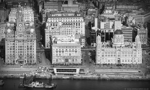 "the "" Three Graces "" P Liverpool  aerial photograph"