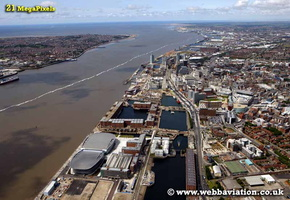 Kings Dock Liverpool Merseyside UK aerial photograph