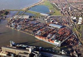 Cranes at  Royal Seaforth Dock Liverpool part of Liverpool FreeportMerseyside aerial photograph