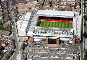 Anfield football stadium Liverpool, England UK home of Liverpool F.C.  aerial photograph