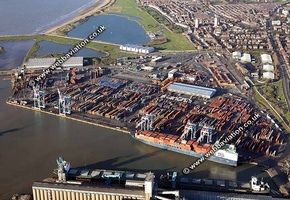 Royal Seaforth Dock Liverpool part of Liverpool FreeportMerseyside aerial photograph