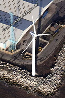 Windturbine  at Seaforth Docks Liverpool Merseyside aerial photograph