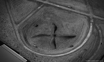 grass propeller on the site of the original Speke airport  aerial photograph
