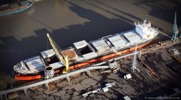 bulk carrier Clara unloading at Liverpool Docks aerial photograph