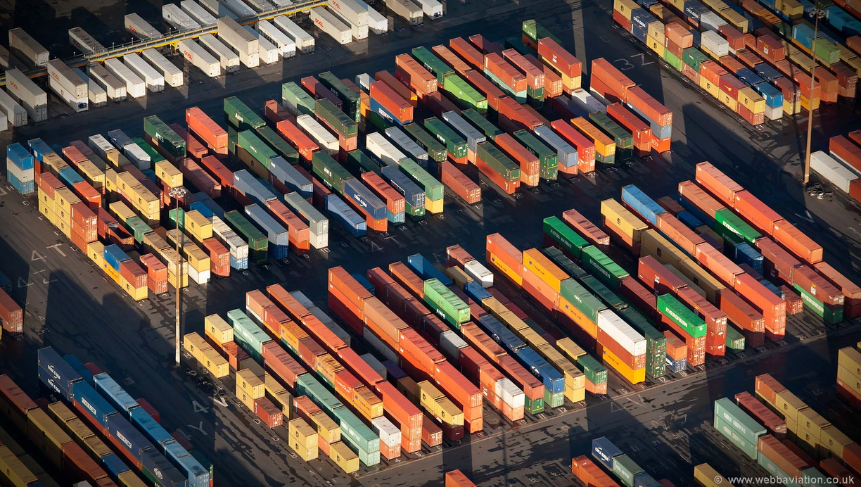 shipping containers at Liverpool container terminal aerial photograph