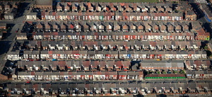terraced houses Liverpool aerial photo