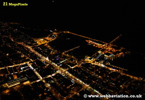 Southport  Merseyside UK aerial photograph at night