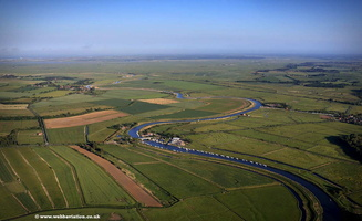 aerial photograph of the River Bure at Arcle Bridge  on the Norfolk Broads England UK