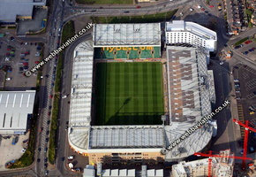 Carrow Road football stadium Norwich, Norfolk, England UK home of Norwich City Football Club aerial photograph