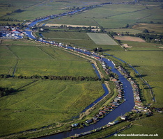 aerial photograph of the river Thurne on the Norfolk Broads England UK