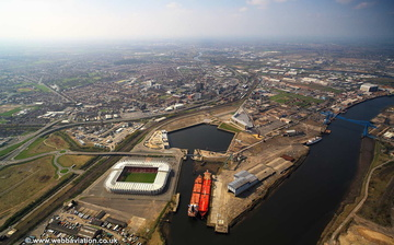 Middlesbrough with Middlehaven Docks in the foreground aerial photograph