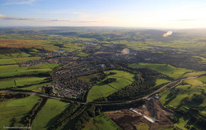 Eller Beck flood defenses & dam , Skipton  aerial photograph
