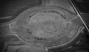 Thornborough Henges neolithic monument in Yorkshire England UK aerial photograph