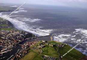 Whitby Yorkshire England UK aerial photograph