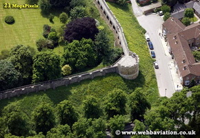 the city walls York  Yorkshire England UK aerial photograph